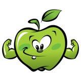 Ευτυχές ισχυρό πράσινο μήλο κινούμενων σχεδίων που κάνει μια χειρονομία δύναμης Στοκ Φωτογραφία