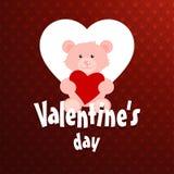 Ευτυχές κάρτα ημέρας βαλεντίνων \ «s με το κόκκινο υπόβαθρο σχεδίων Στοκ Εικόνα