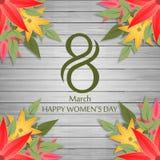 Ευτυχές κάρτα ημέρας γυναικών \ «s στο ξύλινο διάνυσμα υποβάθρου Στοκ Εικόνες