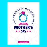 Ευτυχές κάρτα χαιρετισμών ημέρας μητέρων \ «s με το μοναδικό σχέδιο και το μπλε θόριο Στοκ Φωτογραφία