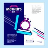 Ευτυχές κάρτα χαιρετισμών ημέρας μητέρων \ «s με το μοναδικό σχέδιο και το μπλε θόριο Στοκ φωτογραφία με δικαίωμα ελεύθερης χρήσης