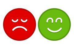 Ευτυχές και λυπημένο επίπεδο διάνυσμα προσώπων Emoji για Apps και τους ιστοχώρους διανυσματική απεικόνιση