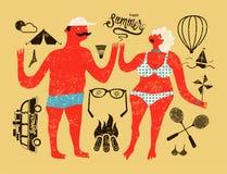 ευτυχές καλοκαίρι Τυπογραφική αναδρομική αφίσα grunge με το ζεύγος κινούμενων σχεδίων Σύνολο στοιχείων σχεδίου τουρισμού τυπογραφ απεικόνιση αποθεμάτων