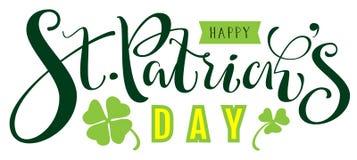 Ευτυχές κείμενο ημέρας του ST Patricks για τη ευχετήρια κάρτα ελεύθερη απεικόνιση δικαιώματος