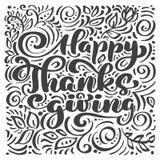 Ευτυχές κείμενο καλλιγραφίας ημέρας των ευχαριστιών, διευκρινισμένη διάνυσμα τυπογραφία που απομονώνεται στο άσπρο υπόβαθρο Θετικ Στοκ Εικόνες