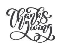 Ευτυχές κείμενο καλλιγραφίας ημέρας των ευχαριστιών, διευκρινισμένη διάνυσμα τυπογραφία που απομονώνεται στο άσπρο υπόβαθρο Θετικ Στοκ φωτογραφία με δικαίωμα ελεύθερης χρήσης