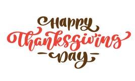 Ευτυχές κείμενο καλλιγραφίας ημέρας των ευχαριστιών, διευκρινισμένη διάνυσμα τυπογραφία που απομονώνεται στο άσπρο υπόβαθρο Θετικ Στοκ εικόνα με δικαίωμα ελεύθερης χρήσης