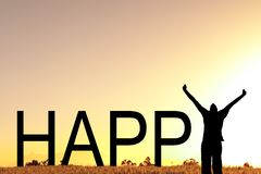 Ευτυχές κείμενο με ένα γιορτάζοντας άτομο στοκ εικόνες
