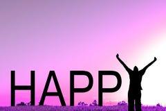 Ευτυχές κείμενο με ένα σκιαγραφημένο γιορτάζοντας άτομο στοκ φωτογραφία με δικαίωμα ελεύθερης χρήσης