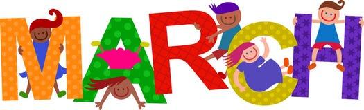 Ευτυχές κείμενο παιδιών Μαρτίου διανυσματική απεικόνιση