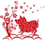 Ευτυχές κινεζικό νέο έτος έτους 2019 του χοίρου σεληνιακό νέο έτος Ελεύθερη απεικόνιση δικαιώματος