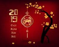 Ευτυχές κινεζικό νέο έτος 2019, έτος του χοίρου σεληνιακό νέο έτος Οι κινεζικοί χαρακτήρες σημαίνουν καλή χρονιά ελεύθερη απεικόνιση δικαιώματος