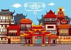 Ευτυχές κινεζικό νέο σχέδιο ευχετήριων καρτών έτους ελεύθερη απεικόνιση δικαιώματος