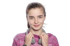 Ευτυχές κορίτσι εφήβων με τα ακουστικά Στοκ Φωτογραφία