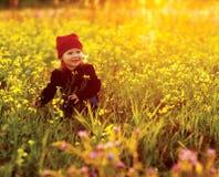 Ευτυχές κορίτσι με τα λουλούδια πεδίων Στοκ Φωτογραφίες
