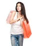 Ευτυχές κορίτσι με τις τσάντες αγορών Στοκ εικόνες με δικαίωμα ελεύθερης χρήσης