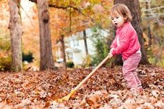 Ευτυχές κορίτσι μικρών παιδιών που μαζεύει με τη τσουγκράνα τα φύλλα στοκ φωτογραφία με δικαίωμα ελεύθερης χρήσης