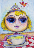Ευτυχές κορίτσι που τρώει το σχέδιο κινούμενων σχεδίων σούπας Στοκ Εικόνες