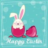Ευτυχές κουνέλι στο αυγό Στοκ εικόνες με δικαίωμα ελεύθερης χρήσης