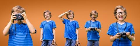 Ευτυχές κολάζ αγοριών στο πορτοκαλί κλίμα Στοκ Φωτογραφία