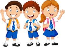 Ευτυχές κυματίζοντας χέρι κινούμενων σχεδίων σχολικών παιδιών Στοκ εικόνα με δικαίωμα ελεύθερης χρήσης