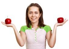 ευτυχές κόκκινο μήλων πο&up Στοκ φωτογραφία με δικαίωμα ελεύθερης χρήσης
