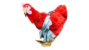 Ευτυχές κόκκινο μαλακό παιχνίδι κοτόπουλου κοτών με την ποδιά και τα πόδια Στοκ εικόνα με δικαίωμα ελεύθερης χρήσης
