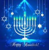 Ευτυχές λάμποντας υπόβαθρο Hanukkah με Menorah, το Δαβίδ Star και την επίδραση Bokeh Διανυσματική απεικόνιση στο μπλε διανυσματική απεικόνιση