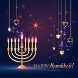 Ευτυχές λάμποντας υπόβαθρο Hanukkah με Menorah, το Δαβίδ Star και την επίδραση Bokeh απεικόνιση στο σκοτάδι διανυσματική απεικόνιση