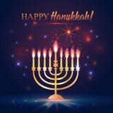 Ευτυχές λάμποντας υπόβαθρο Hanukkah με Menorah, το Δαβίδ Star και την επίδραση Bokeh απεικόνιση στο σκοτάδι απεικόνιση αποθεμάτων