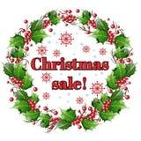 ευτυχές λευκό αγορών πώλησης κοριτσιών Χριστουγέννων ανασκόπησης Στεφάνι των φύλλων και μούρα του ελαιόπρινου Στοκ Εικόνες