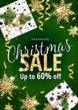 ευτυχές λευκό αγορών πώλησης κοριτσιών Χριστουγέννων ανασκόπησης Έμβλημα διακοπών για τον Ιστό ή το ιπτάμενο Στοκ φωτογραφία με δικαίωμα ελεύθερης χρήσης