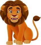 Ευτυχές λιοντάρι κινούμενων σχεδίων που απομονώνεται στο άσπρο υπόβαθρο απεικόνιση αποθεμάτων
