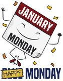 Ευτυχές με κινητά φύλλα ημερολόγιο με το κομφετί που κτυπά την μπλε Δευτέρα, διανυσματική απεικόνιση ελεύθερη απεικόνιση δικαιώματος