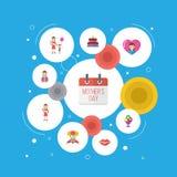 Ευτυχές μητέρων ` s σχέδιο σχεδιαγράμματος εικονιδίων ημέρας επίπεδο με το δώρο σε Mom, την ειδική ημέρα και τα σύμβολα φιλιών Κα Στοκ εικόνες με δικαίωμα ελεύθερης χρήσης
