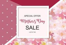 Ευτυχές μητέρων s υπόβαθρο πώλησης ημέρας χαριτωμένο με τα λουλούδια επίσης corel σύρετε το διάνυσμα απεικόνισης Στοκ Εικόνες