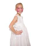 Ευτυχές μικρό κορίτσι στο χρώμα προσώπου πεταλούδων Στοκ εικόνες με δικαίωμα ελεύθερης χρήσης