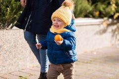 Ευτυχές μικρό παιδί στις ακτίνες του ήλιου το φθινόπωρο στοκ εικόνα