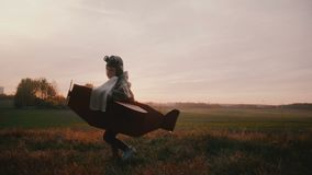 Ευτυχές μικρό παιδί στο κοστούμι αεροπλάνων χαρτονιού διασκέδασης που περιστρέφει και που προσγειώνεται στον τομέα φθινοπώρου ηλι απόθεμα βίντεο