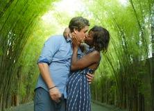 Ευτυχές μικτό φίλημα ζευγών έθνους υπαίθρια με την ελκυστική αμερικανική γυναίκα μαύρων Αφρικανών και τον όμορφο καυκάσιο φίλο ή στοκ εικόνα με δικαίωμα ελεύθερης χρήσης