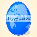 Ευτυχές μπλε αυγό Πάσχας με τον παγκόσμιο χάρτη για το σχέδιό σας στο ύφος κινούμενων σχεδίων επίσης corel σύρετε το διάνυσμα απε Στοκ φωτογραφία με δικαίωμα ελεύθερης χρήσης