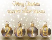 Ευτυχές νέο 2019 έμβλημα έτους Χαρούμενα Χριστούγεννας Υ ελεύθερη απεικόνιση δικαιώματος