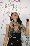 ευτυχές νέο έτος γυναικώ&nu Στοκ Φωτογραφίες