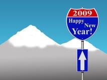ευτυχές νέο έτος οδικών σημαδιών στοκ φωτογραφία