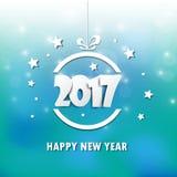 Ευτυχές νέο έτος του 2017 γύρω από τον ευτυχή χιονάνθρωπο χαιρετισμών παραμονής χορού κύκλων Χριστουγέννων παιδιών καρτών Ζωηρόχρ Στοκ Εικόνες