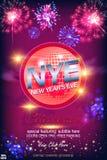 Ευτυχές νέο έτος του 2019! Η σφαίρα Disco ακτινοβολεί επάνω υπόβαθρο φω'των με την επίδραση και τα πυροτεχνήματα Bokeh διανυσματική απεικόνιση