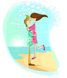 Ευτυχές νέο ζεύγος που έχει τη διασκέδαση στην παραλία διανυσματική απεικόνιση