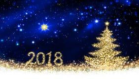 Ευτυχές νέο υπόβαθρο έτους του 2018 με το χριστουγεννιάτικο δέντρο Στοκ Εικόνες