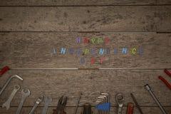 ευτυχές ξύλινο υπόβαθρο ημέρας της ανεξαρτησίας Στοκ φωτογραφία με δικαίωμα ελεύθερης χρήσης