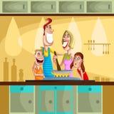 Ευτυχές οικογενειακό μαγείρεμα στην κουζίνα διανυσματική απεικόνιση